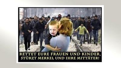 С такива пропагандни снимки в мрежата бяха нахъсвани хората в Кемниц да излязат по улиците и да се включат в гоненията.