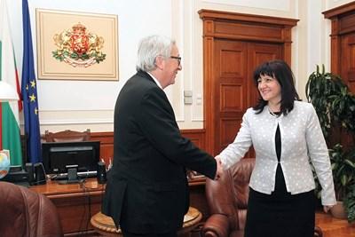 Шефът на Народното събрание Цвета Караянчева се срещна с председателя на Европейската комисия Жан-Клод Юнкер. Снимка Народно събрание
