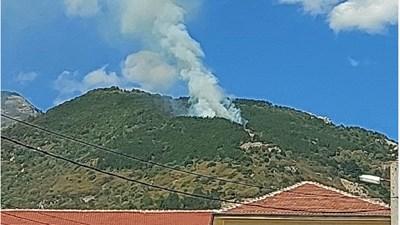 Гъст дим се извива от горящата гора над Карлово.