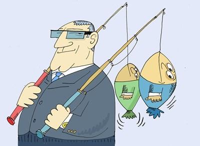 - Защо банкерите празнуват на Никулден? - Защото и те се изхранват с лов на шарани