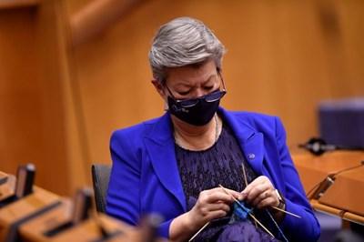 Еврокомисарят по вътрешните работи Илва Йохансон извади плетката си по време на разгорещена дискусия в Европарламента.