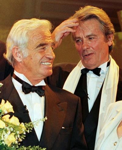 Жан-Пол Белмондо (вляво) и Ален Делон. Снимка: Ройтерс