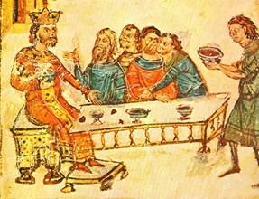 Хан Крум вдига наздравица с чашата, направена от черепа на император Никифор. Миниатюра от Ватиканския препис на хрониката на Константин Манаси (ХІV в.)