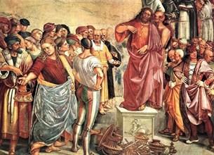 """Фреската """"Проповедта и делата на Антихриста"""" от Лука Синьорели (1499 г.)"""