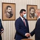 Румен Радев в началото се срещна с ръководството на партията Граждански демократичен съюз от Република Северна Македония. Снимка прессекретариат на държавния глава