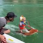 Шестмесечно бебе кара водни ски (Видео)
