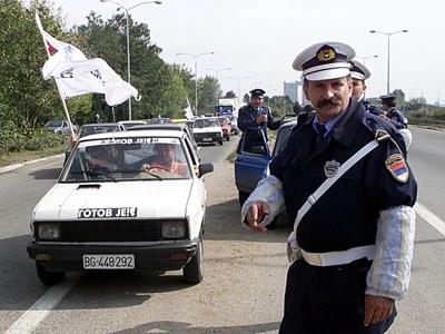 Сръбски катаджия край Белград СНИМКА: РОЙТЕРС