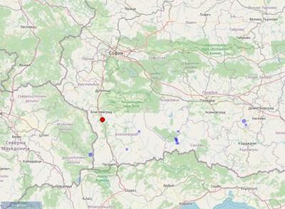 Карта: Националният сеизмологичен център на Националния институт по геофизика, геодезия и география