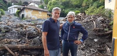 Джордж Клуни с кмета на Лальо Роберто Поци СНИМКИ: Фейсбук