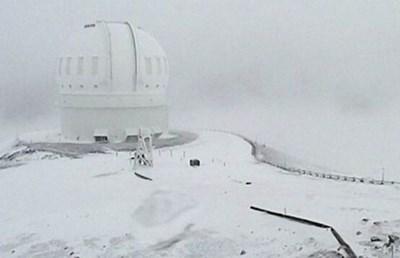 Снежната покривка изненада Хаваите. Източник: BBC