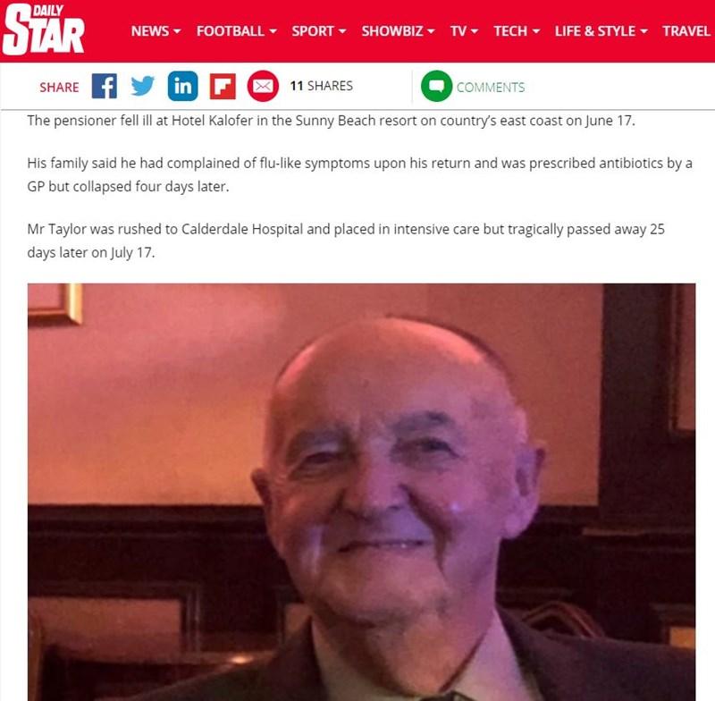 """75-годишният Брайън Тейлър. Факсимиле """"Дейли стар"""""""
