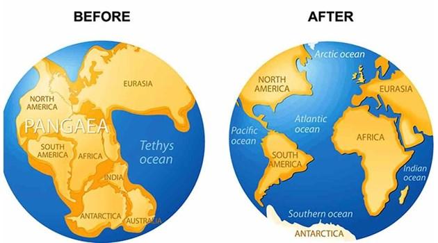 Трусове и вулкани разцепват праконтинента  Пангея