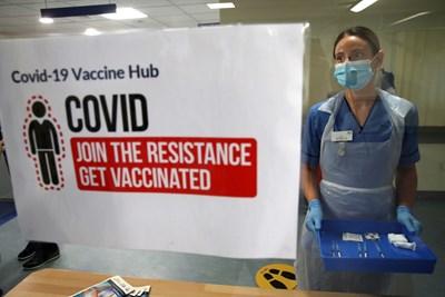 Надписи в болници във Великобритания агитират в полза на ваксинирането. СНИМКА: РОЙТЕРС
