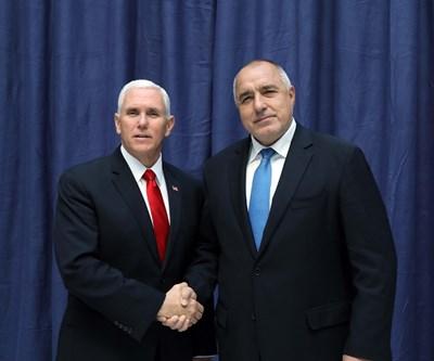 Майк Пенс и Бойко Борисов проведоха среща днес в рамките на конференцията по сигурността в Мюнхен. СНИМКА: Министерски Съвет