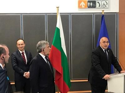 Премиерът Бойко Борисов говори пред шефа на Европейския парламент Антонио Таяни, кандидата на ЕНП за председател на Европейската комисия Манфред Вебер и лидера на евродепутатите от ГЕРБ/ЕНП Андрей Ковачев.