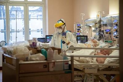 Медик се грижи за пациенти с коронавирус в COVID отделение в Полша.