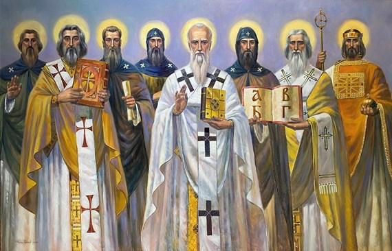 """Картината на Свети Седмочисленици в църквата """"Св. св. равноапостоли Константин и Елена"""" в с. Гара Елин Пелин"""