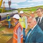 """Дарената картина как премиерът Бойко Борисов и президентът на Сърбия Александър Вучич наблюдават строителството на газопровода """"Балкански поток."""