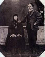 Майката на Левски – Гина Кунчева, с Начо Андреев Начев – най-големият й внук, 1876 г.