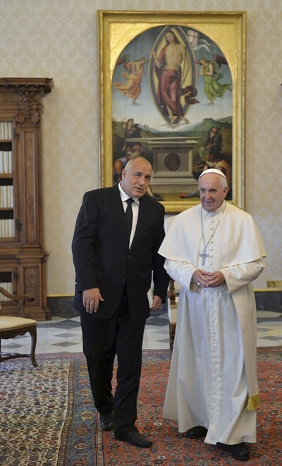 Борисов и папа Франциск през 2015 г. Снимка: Ройтерс