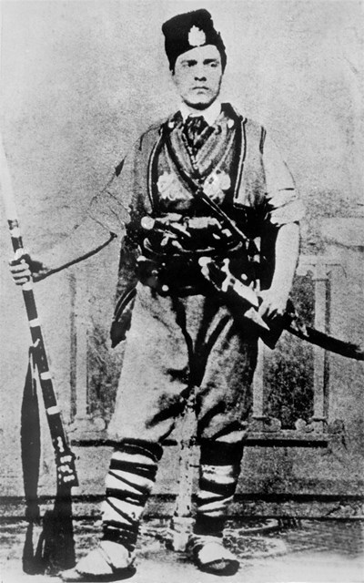 Васил Левски като знаменосец в четата на Панайот Хитов. Тази фотография изпраща на Найден Геров.