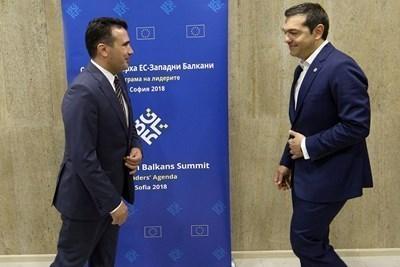 Зоран Заев и Алексис Ципрас на срещата ЕС-Западни Балкани в София на 17 май СНИМКА: Ройтерс