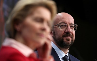 Шарл Мишел и Урсула фон дер Лайен на заключителната пресконференция в Брюксел СНИМКА: РОЙТЕРС