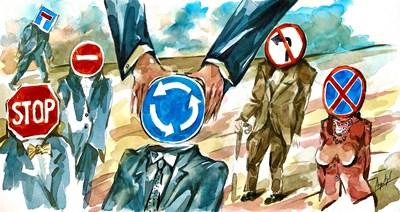 Анри Кулев нарисува как се връчва мандат