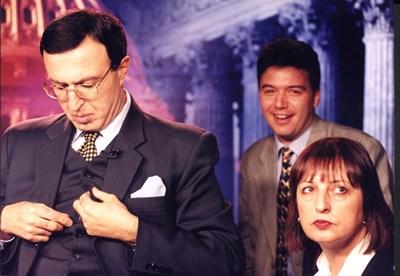 Президентът Петър Стоянов и Нери Терзиева в телевизионно студио на Си Ен Ен през 2000 г. СНИМКА: Архив