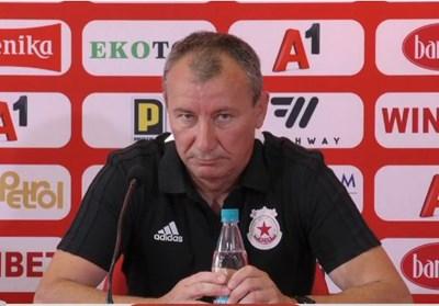 Стамен Белчев на първата си пресконференция днес. Кадри и видео Фейсбук/ЦСКА