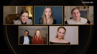 """Блясъкът се завърна на виртуалната церемония за наградите """"Златен глобус"""", в която номинираните и наградените се включваха чрез Zoom от различни точки на света Снимки: Ройтерс"""