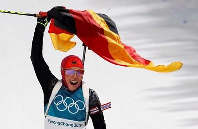 Германската биатлонистка Лаура Далмайер продължава по план към 6 олимпийски титли. Снимки РОЙТЕРС