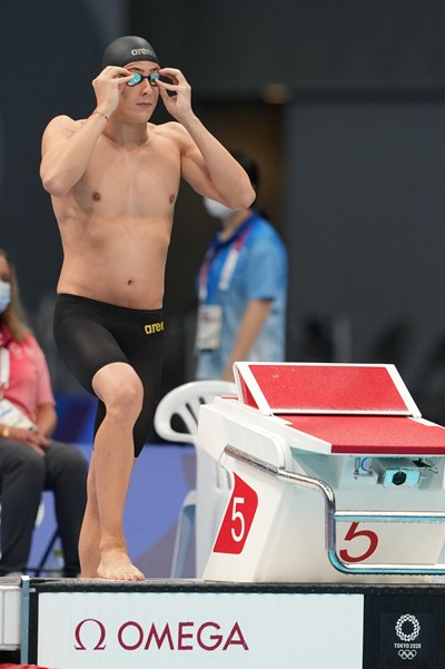 Йосиф Миладинов ще плува в полуфинал на 100 м бътерфлай в Токио. Снимка: Любомир Асенов/LAP.BG