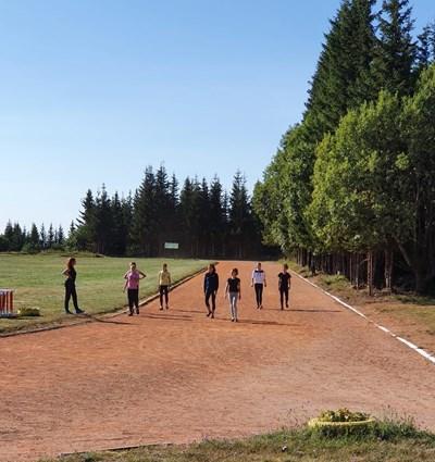 Националките по художествена гимнастика тренират на стадиона