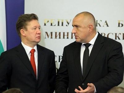 """Шефът на """"Газпром"""" Алексей Милер и премиерът Бойко Борисов при подписването на един от първоначалните договори за """"Южен поток"""" през 2012 г. СНИМКА: Йордан Симeонов"""