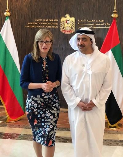 Захариева със своя емиратски колега шейх Абдула бин Зайед ал Нахаян. Снимки ГЕОРГИ МИЛКОВ