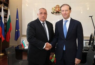 Бойко Борисов и Денис Мантуров СНИМКИ: Правителствена информационна служба