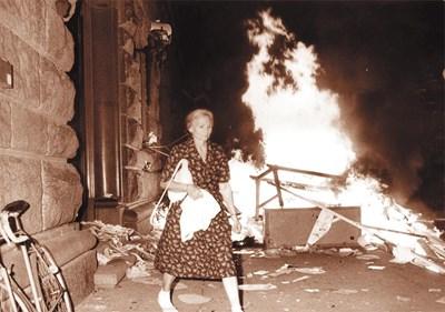 При пожара на партийния дом на 26 август 1990 г. бяха унищожени и откраднати компютри и документи, съдържащи интересна информация.