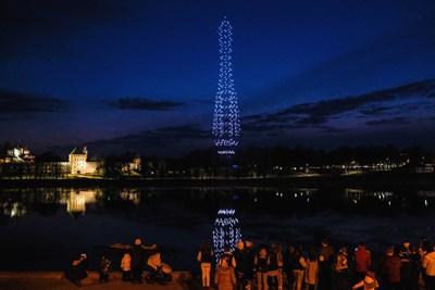 Дронове осветиха небето във Велики Новгород в чест на Гагарин СНИМКА: РОЙТЕРС