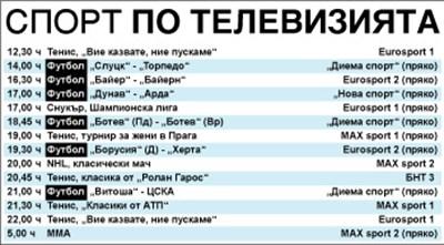 Спорт по тв днес: футбол от България, Германия и Беларус, тенис, снукър, хокей на лед, ММА