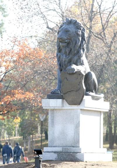 Лъвът от Войнишкия мемориал вече е в парка пред НДК СНИМКА: Румяна Тонeва