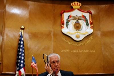 Рекс Тилърсън на пресконференция в Йордания СНИМКА: Ройтерс