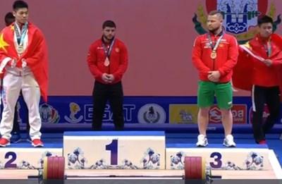 Юндер Бейтула с бронз в изтласкването и пети в двубоя на кат. 81 кг СНИМКИ: Българската федерация по вдигане на тежести