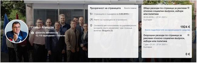 Славчо Атанасов е спонсорирал публикации за 3848 лв