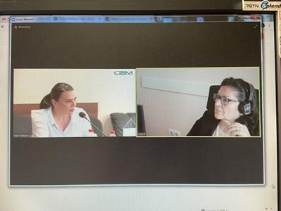 """Бетина Жотева, председател на СЕМ (вляво) и Лидия Йорданова от """"Екзакта"""" по време на онлайн конференцията СНИМКА: 24 часа"""