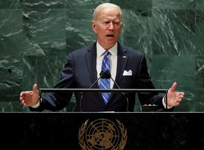 Президентът на САЩ Джо Байдън по време на речта си при откриването на 76-ата сесия на Общото събрание на ООН. Снимка РОЙТЕРС