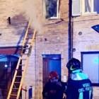 Сградата с изгорелия апартамент СНИМКА: ИТАЛИАНСКИ ПОЖАРНИКАРИ