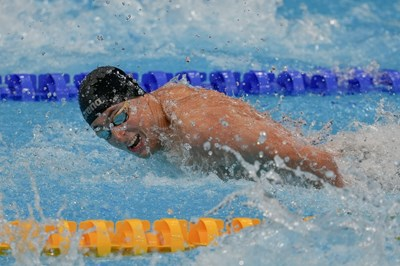 Исторически момент за българското плуване - Йосиф Миладинов по време на олимпийския финал на 100 м бътерфлай на игрите в Токио. СНИМКА: ЛЮБОМИР АСЕНОВ, LAP.BG