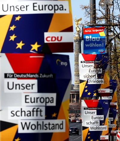 Предизборни плакати в Германия за изборите за Европейски парламент през май СНИМКА: Ройтерс