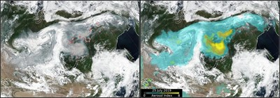 Сателитна снимка на горските пожари, които бушуват на огромни територии в Сибир. Снимка: PОЙТЕРС